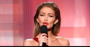 Slaylebrity Gigi Hadid impression of Melanie Trump