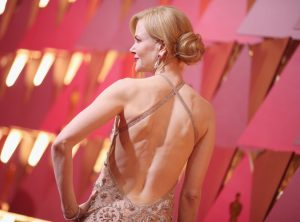 Did Nicole Kidman cut up her gown at the oscars?