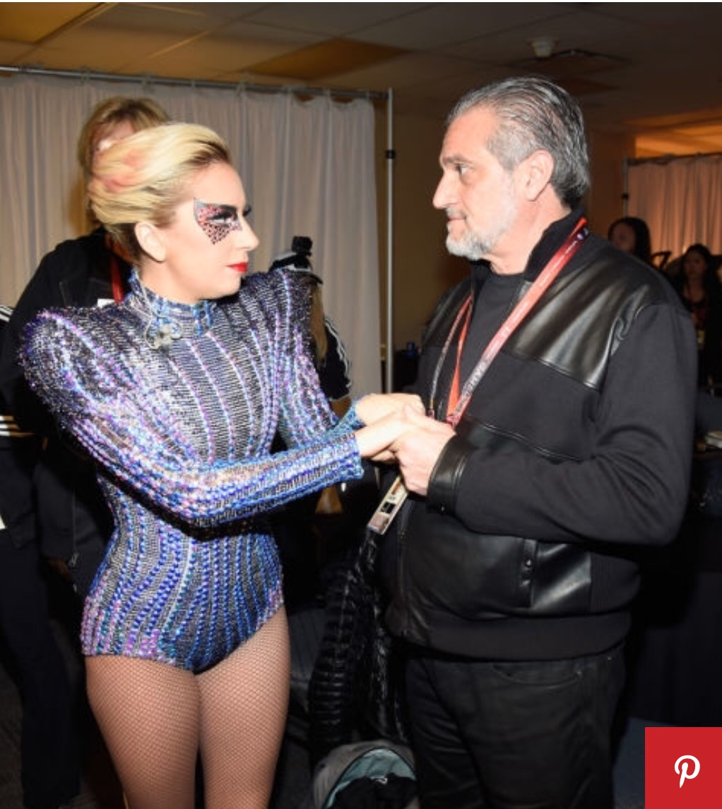 Lady Gaga with her father Joe Germanotta backstage at the