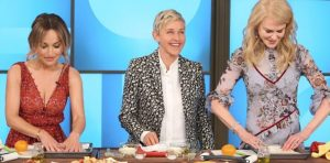 Ellen and Nicole Kidman try to learn cooking skills from Giada de Laurentils