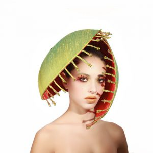Oversized Venus Fly Trap Headpiece, Raw Silk Fascinator