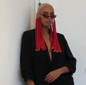 Solange Debuts Red Beads and Braided Hairstyle