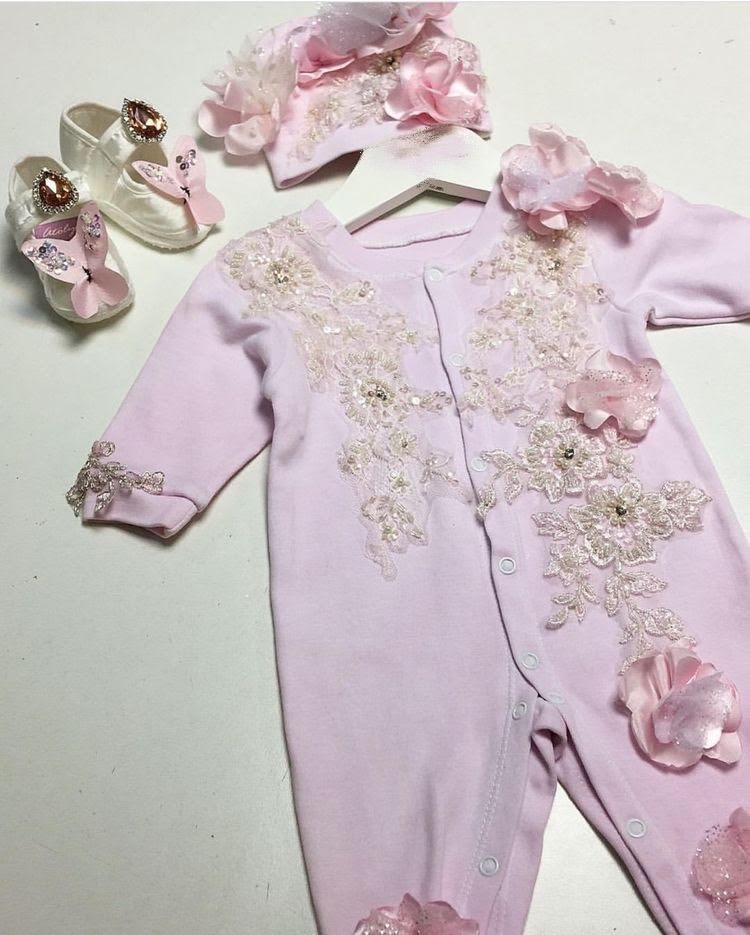 Pink baby couture onesie set