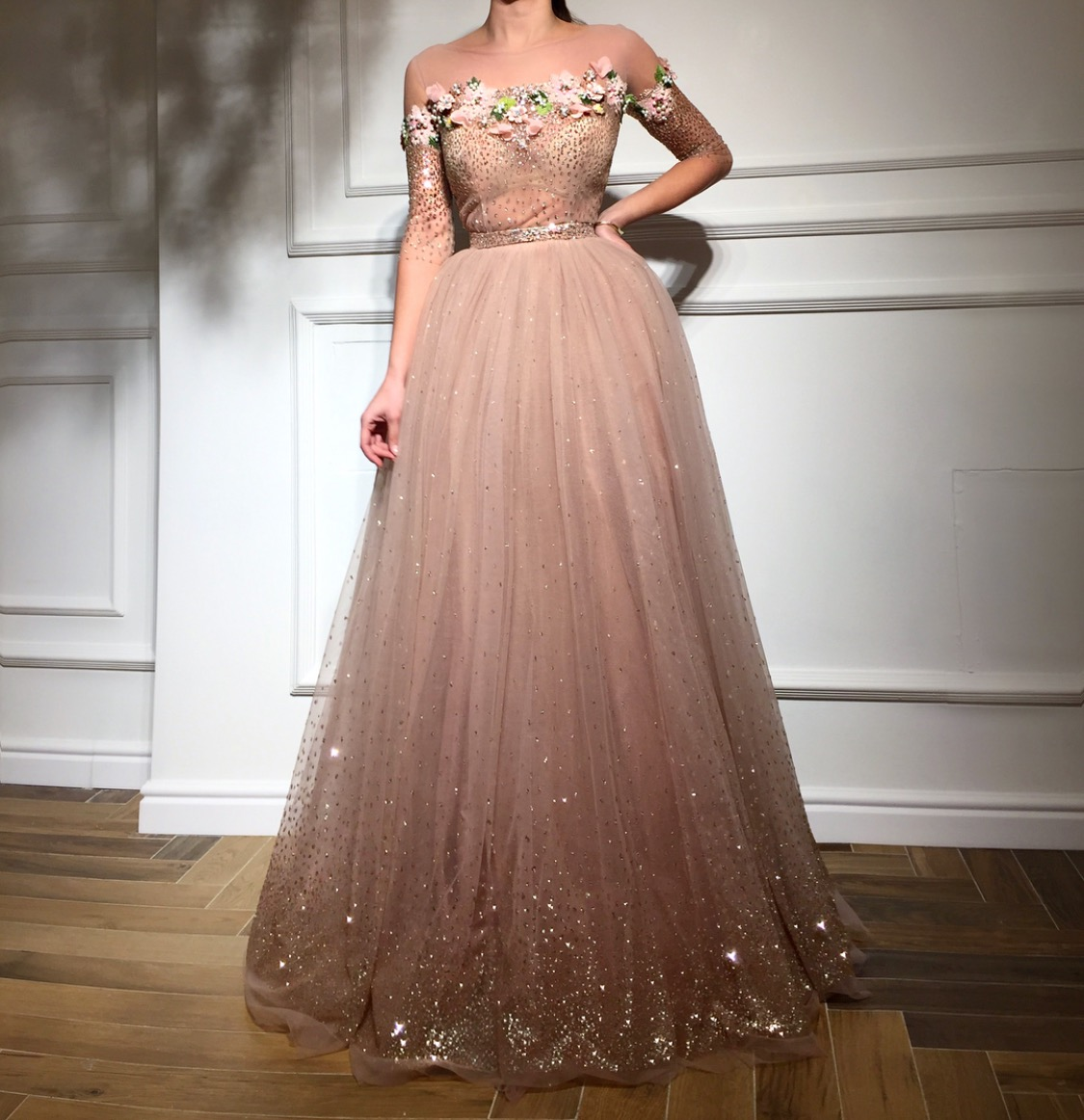 Peach fantasy evening gown