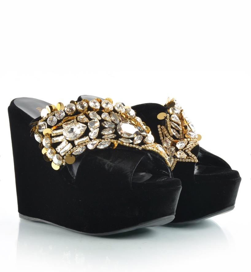Gedebe Black Velvet Ladies Sandals