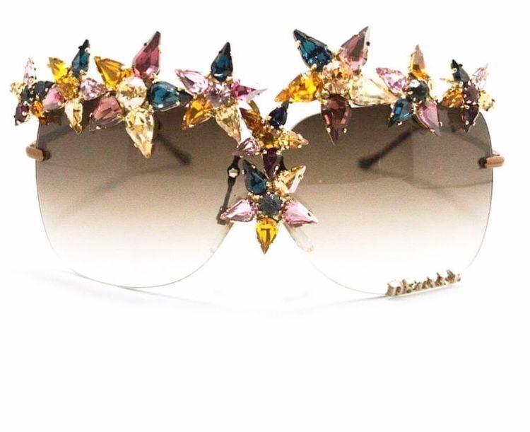 Multi coloured embellished couture eyewear
