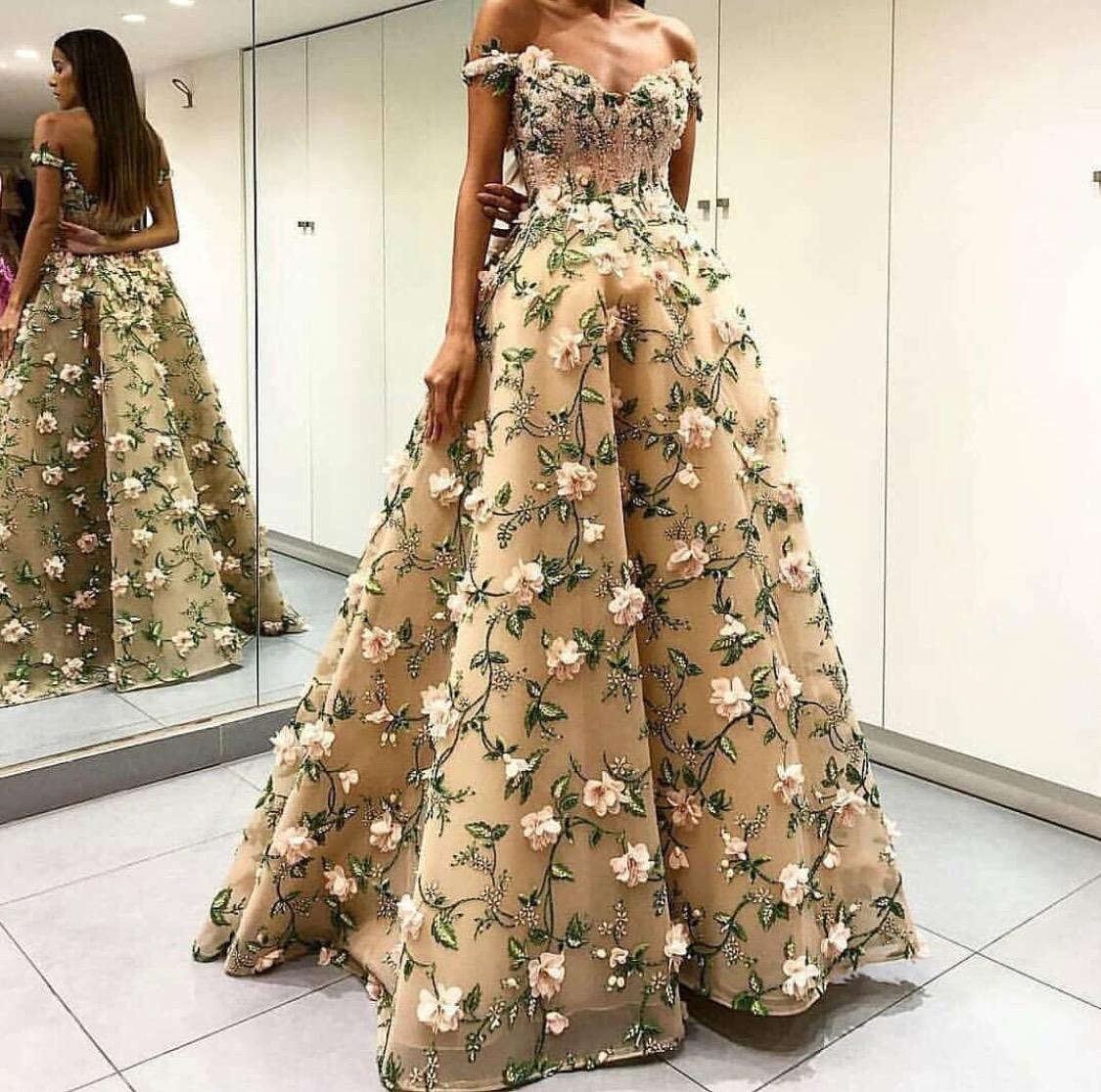Floral appliqué dress
