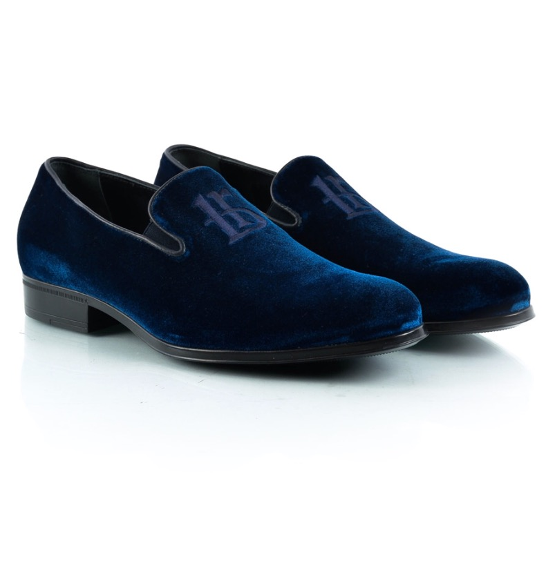 Roberto Botticelli Blue Velvet Men Shoes