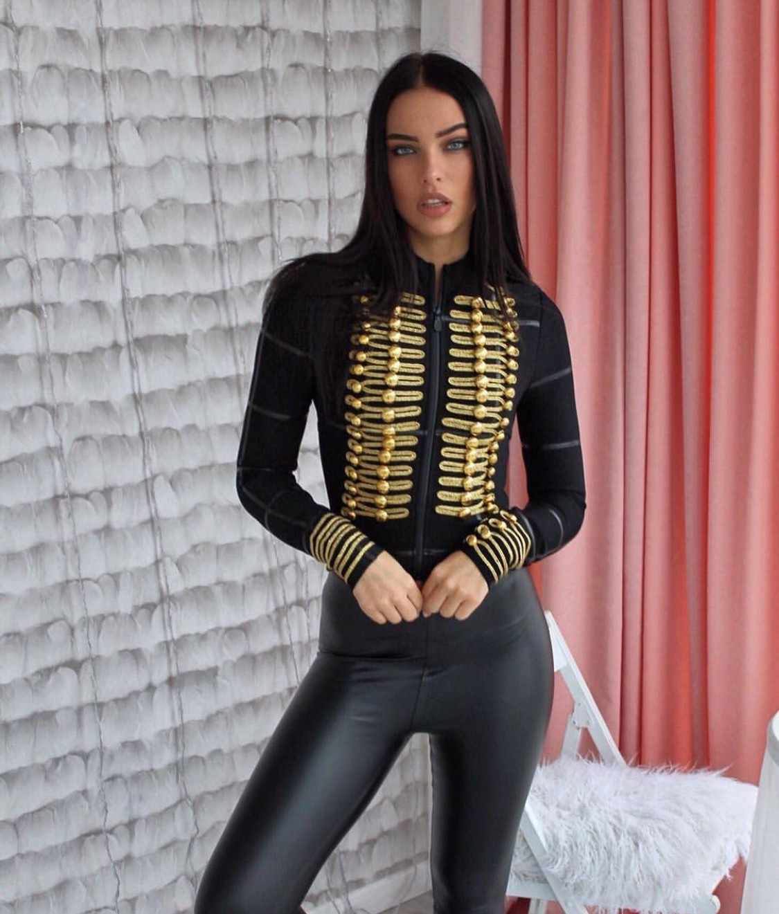 Leather pants, Leather top, Leather and bandage
