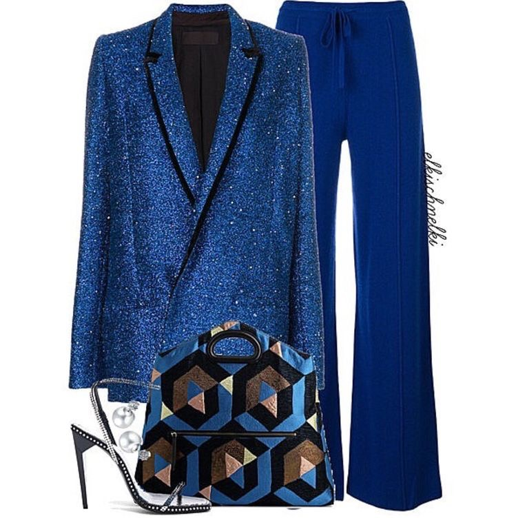 Blue ensemble, Blue blazer, Blue loose fitted pants