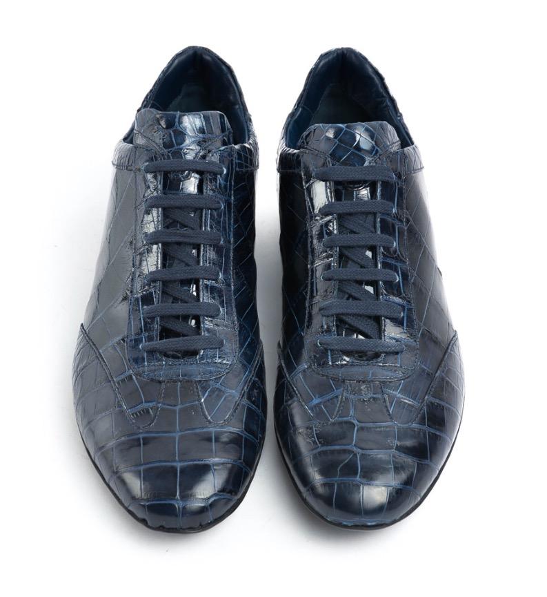 Roberto Botticelli Dark Blue Crocodile Leather Shoes