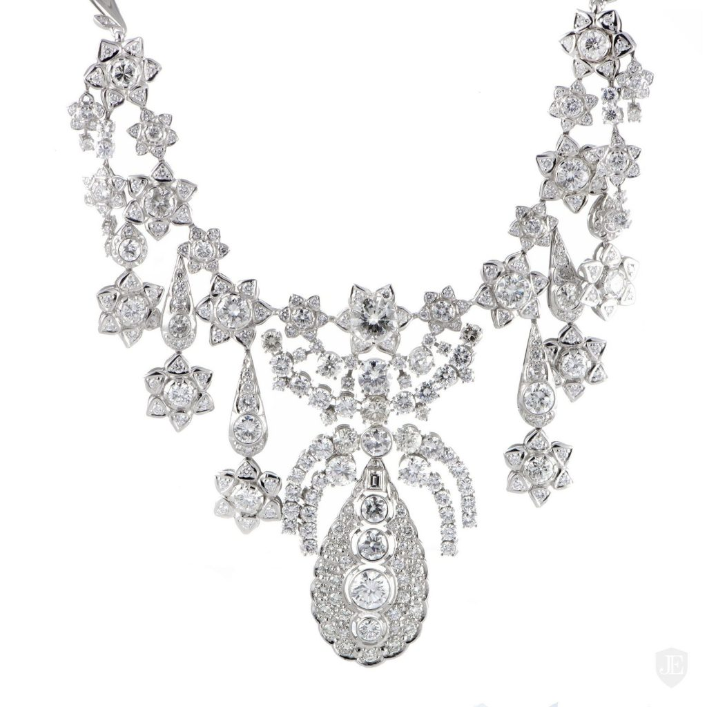Non Branded Large 18K White Gold Diamond Floral Bib Necklace