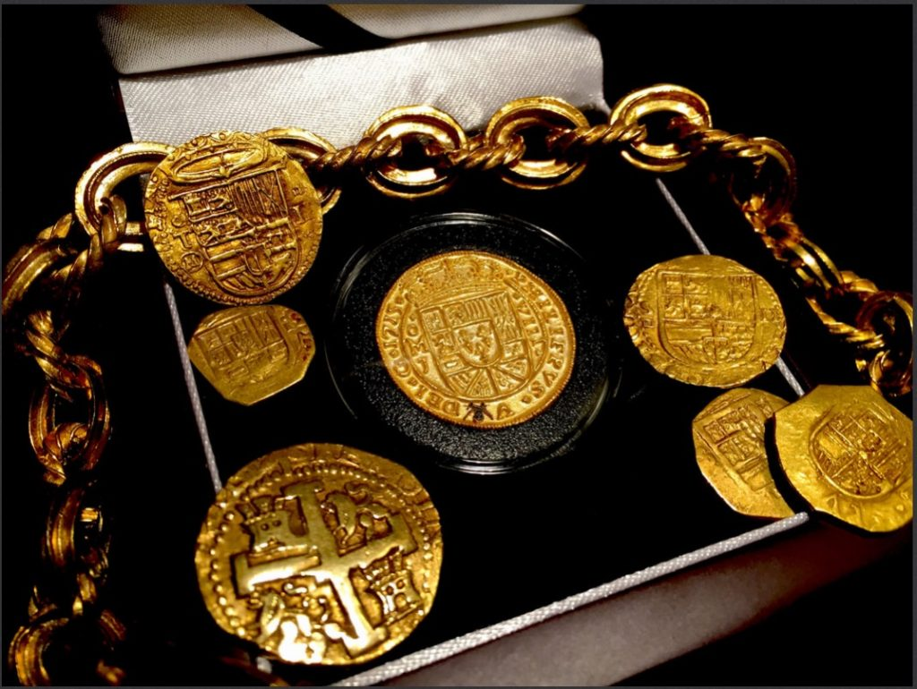 Authentic pirate gold coins from Atocha