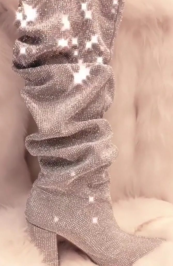 Diamond studded boots