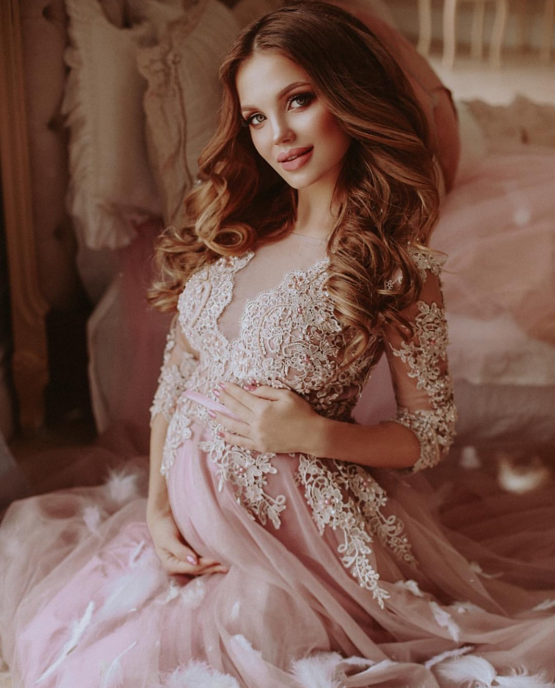 Luxury baby pink maternity couture gown