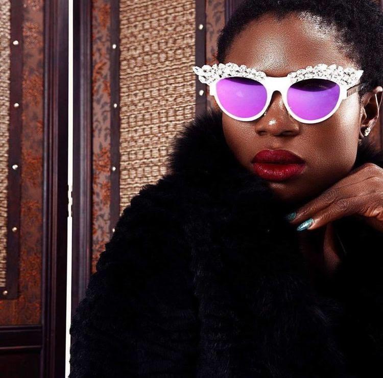 Purple lens embellished couture eyewear