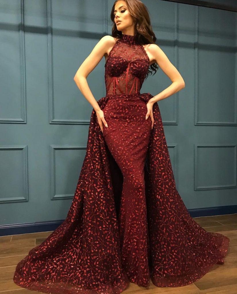 Dark red luxury couture evening dress