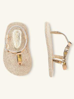 Metallic gold woven sandals