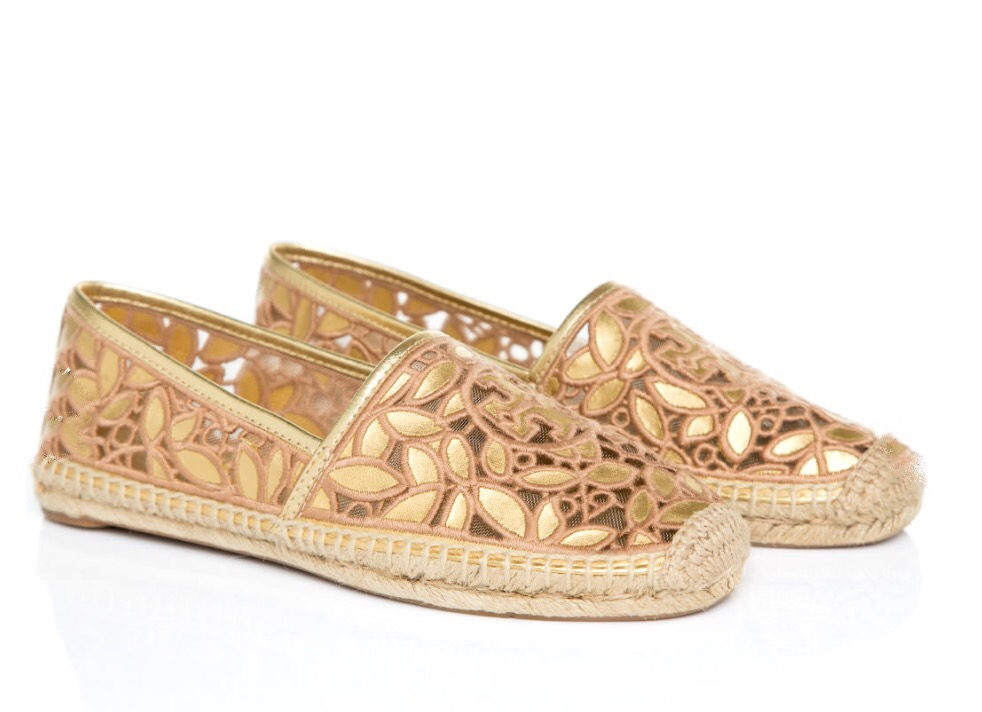 7dbe4e1a287 ... effortless essential: This Rhea Metallic Espadrille is like a vacation  in a shoe, remaking a classic tomboyish slip-on with an openwork floral  pattern ...