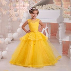 Yellow kids couture gown