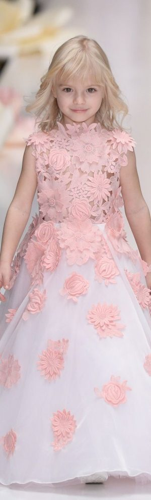 Baby pink lace couture gown