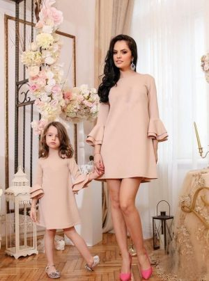 Mummy and me nude bell dress