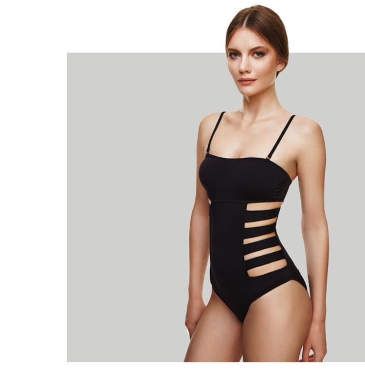 Ripped black luxury swimsuit