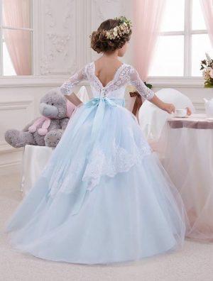 Light blue cascade kids couture gown