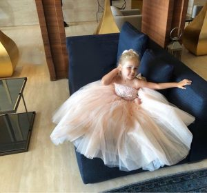 Blush pink beaded kids couture gown