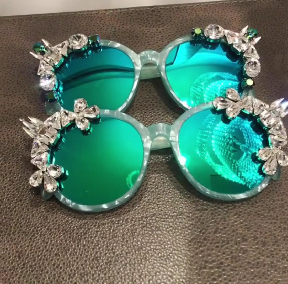 green crystal eyewear