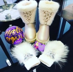 Luxury embellished fur boots and accessories