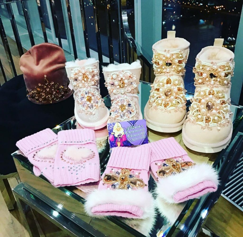 Luxury embellished minimi pink boots and accessories