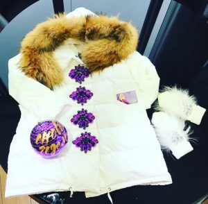 Luxury white fur Parka jacket