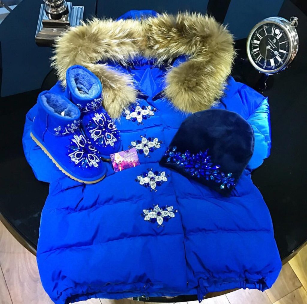Luxury mummy and me fur parka jacket with matching boots and accessories
