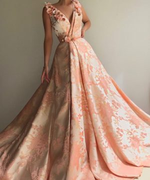 Bespoke Peach flower evening gown