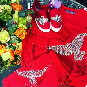 Red embellished lounge wear and accessories