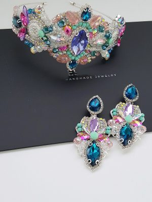 Crystal crown and earring set