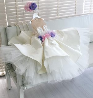 White satin kids couture dress