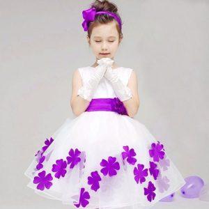 White and lavender flower girl dress