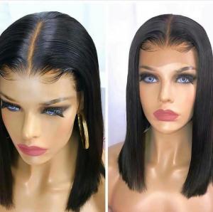 Premium short black full silk base wig