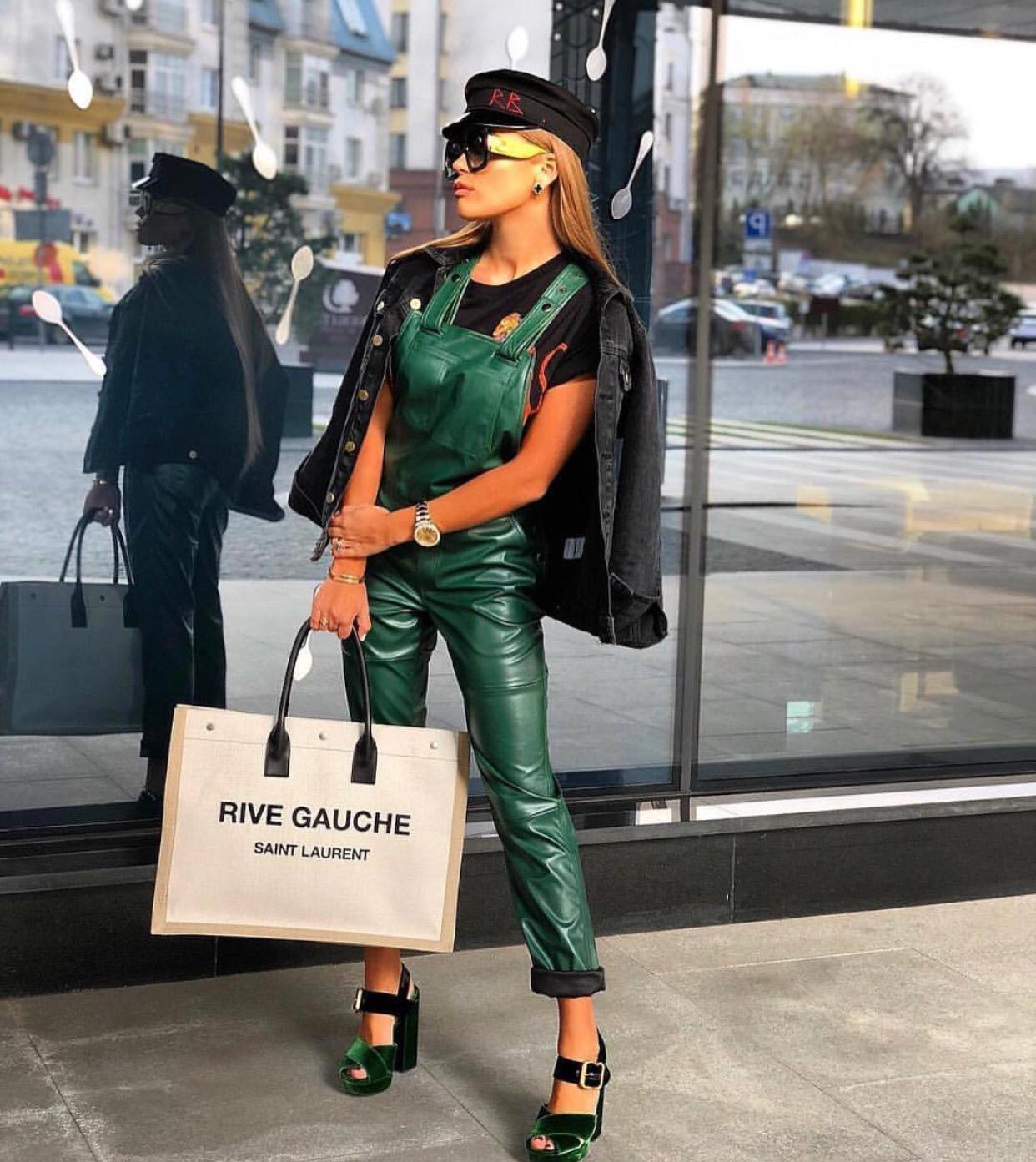 Luxury green dungaree and cardigan set
