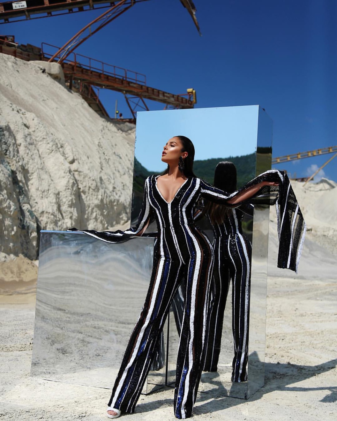 Black and white Striped sequin jumpsuit