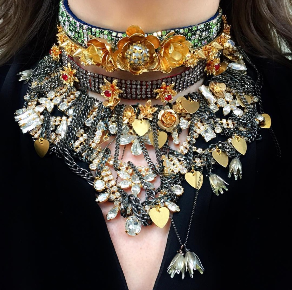 Flower and gold layered necklace