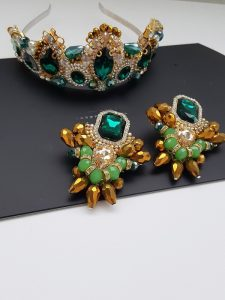Opulent earrings and matching crown