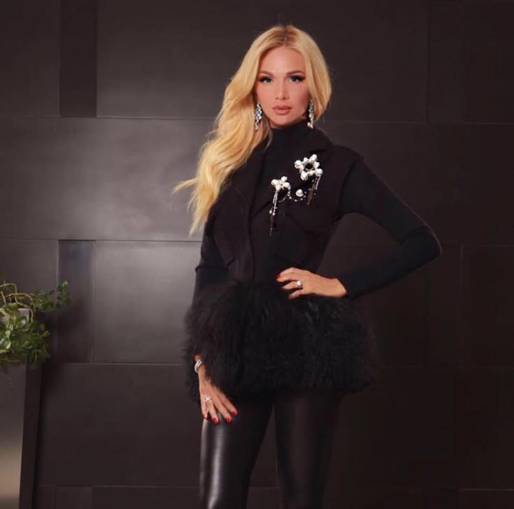 Luxury embellished black sleeveless cardigan jacket
