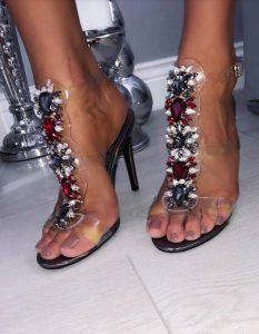 Custom handmade crystal sandal shoes