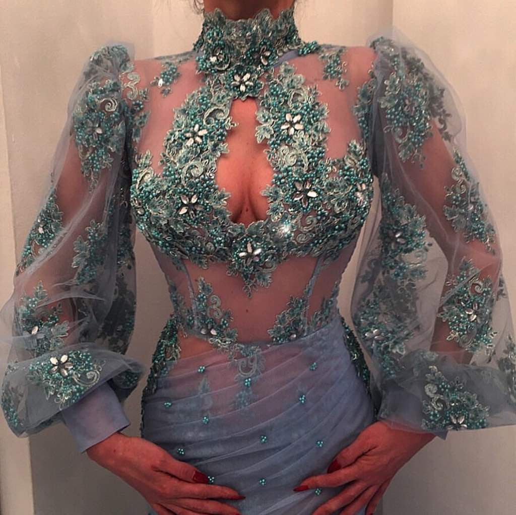 Stunning misty blue embellished dress