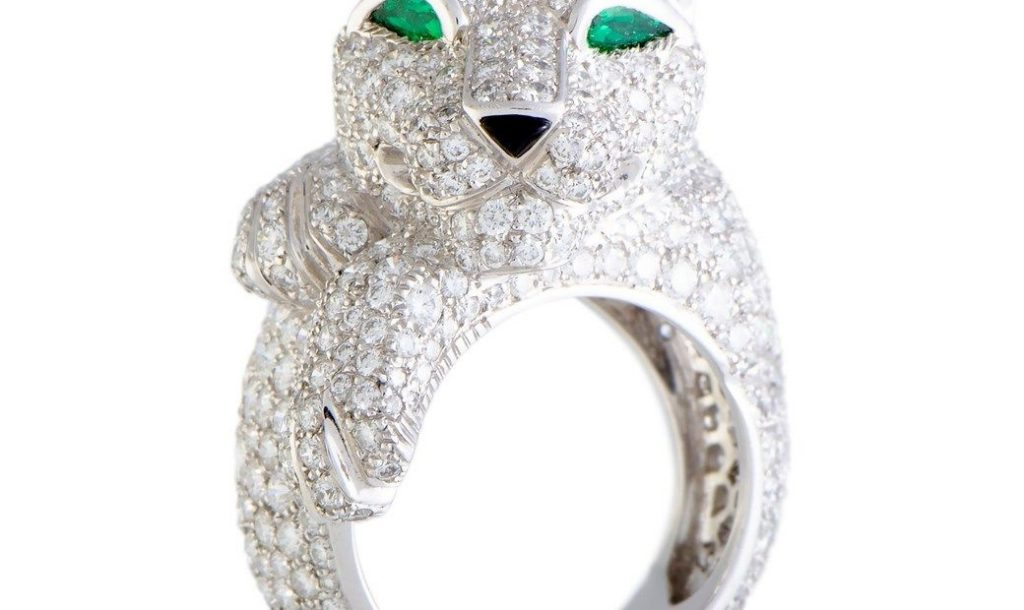 Cartier Panthere 18K White Gold Full Diamond Pave Onyx and Emerald Ring