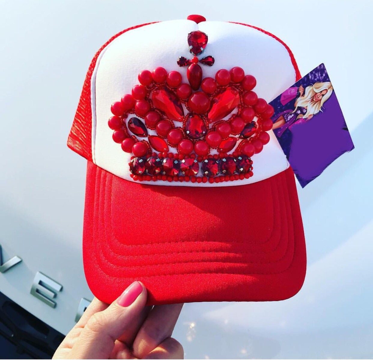 Red and white embellished snap back