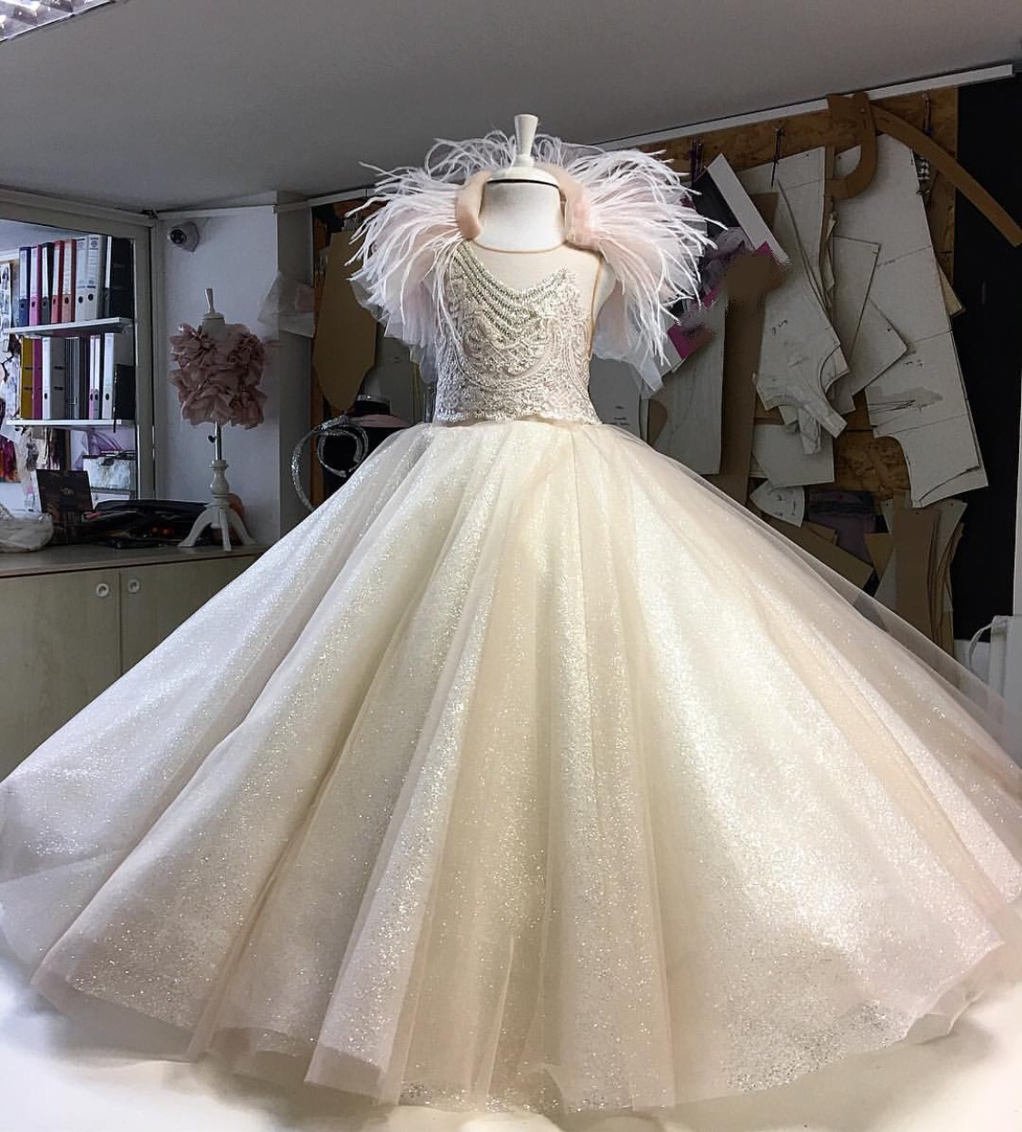 High glam champagne kids couture gown